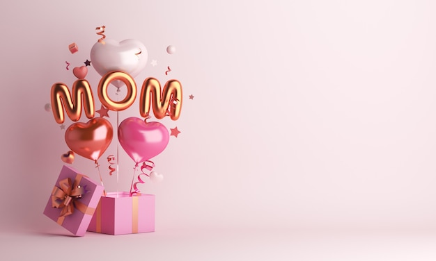Feliz día de la madre decoración con globo y espacio de copia de caja de regalo