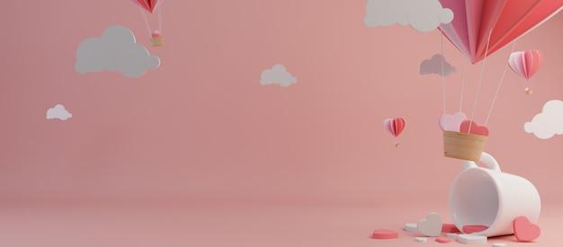 Feliz día de san valentín y escarda elemento de diseño. fondo rosa representación 3d