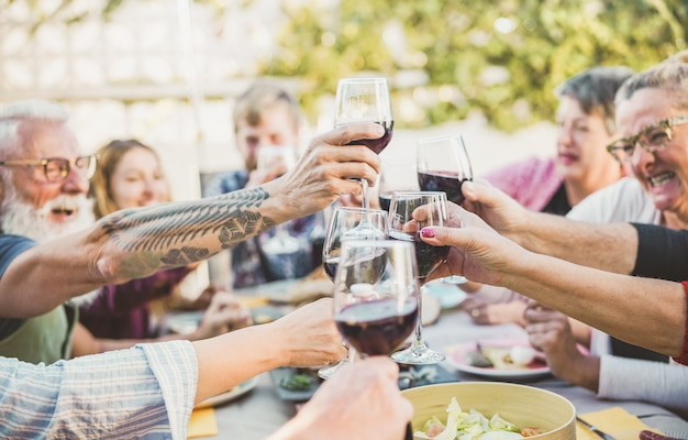 Feliz familia animando con vino tinto en una cena de barbacoa al aire libre