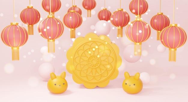 Feliz festival de mediados de otoño con conejito lindo y linterna china, representación 3d.