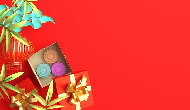 Feliz festival de mediados de otoño o decoración de año nuevo chino con linterna de caja de regalo de pastel de luna, espacio de copia