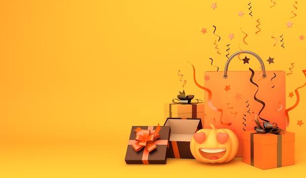 Feliz fondo de decoración de halloween con bolsa de compras de caja de regalo de calabaza, espacio de copia