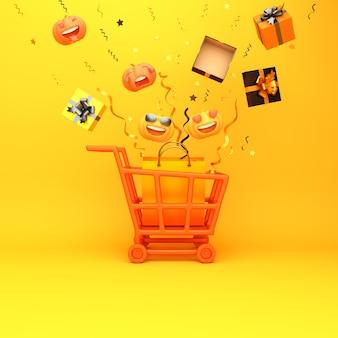 Feliz fondo de decoración de halloween con caja de regalo de calabaza de carro de carro, espacio de copia