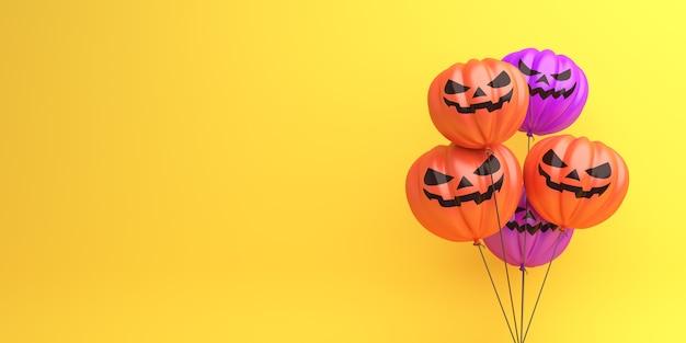 Feliz fondo de decoración de halloween con globo de calabaza, espacio de copia