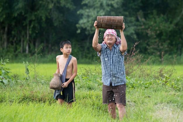 Feliz hallazgo en el campo de arroz