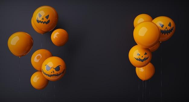 Feliz halloween, naranja, fantasma, globos., aterrador, aire, globos, y, halloween, elements., sitio web, espeluznante, fondo negro