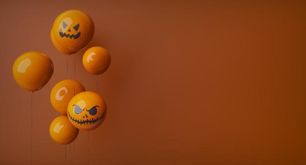 Feliz halloween, naranja, fantasma, globos. globos aerostáticos y elementos de halloween. sitio web espeluznante, fondo naranja, globos a la izquierda