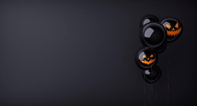 Feliz halloween, negro, fantasma, globos., aterrador, aire, globos, y, halloween, elements., sitio web, espeluznante, fondo negro, globos, a la derecha