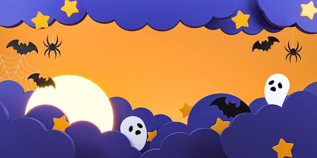 Feliz halloween con nubes, murciélagos, arañas, fantasmas y estrellas.