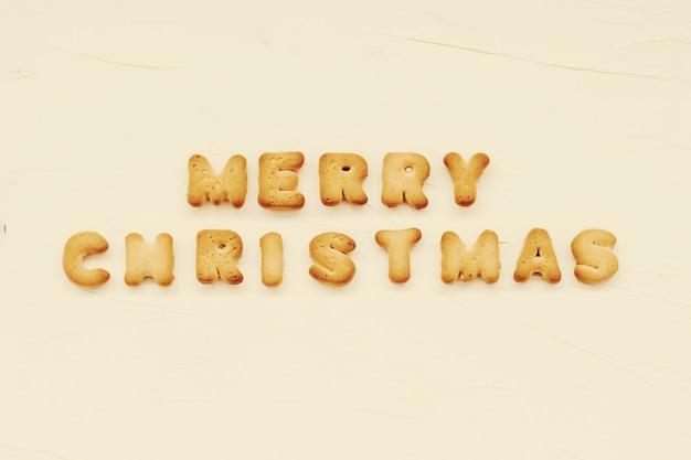 Feliz navidad escrito de letras de galleta