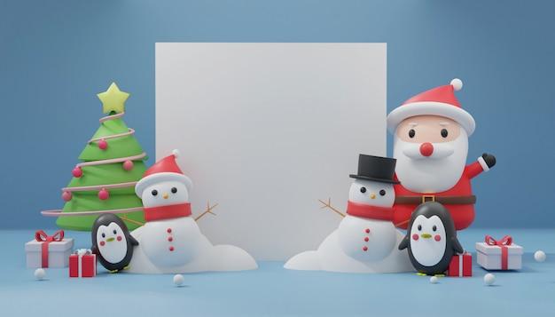 Feliz navidad con espacio para texto, celebraciones navideñas con papá noel, pingüino, muñeco de nieve para tarjeta de navidad