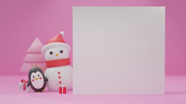 Feliz navidad con espacio para texto, celebraciones navideñas con pingüino y muñeco de nieve.