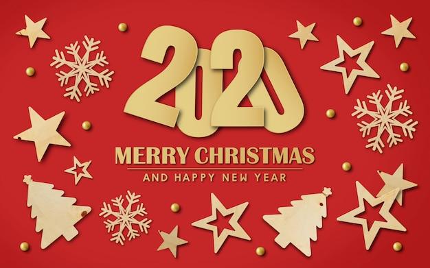 Feliz navidad y feliz año nuevo 2020 fondo con copyspace