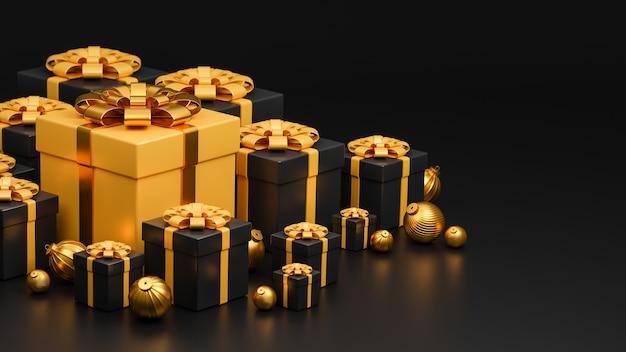 Feliz navidad y feliz año nuevo banner estilo de lujo.
