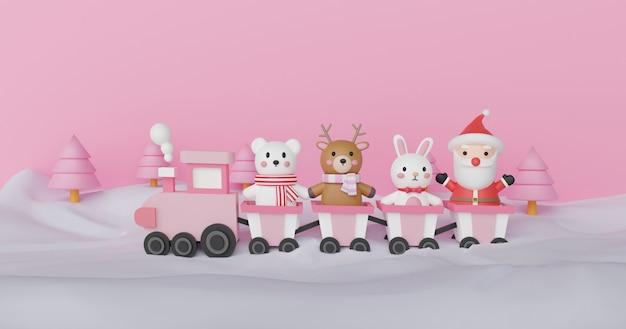 Feliz navidad y feliz año nuevo, fondo de navidad con linda papá noel y amigo de pie en un tren. representación 3d