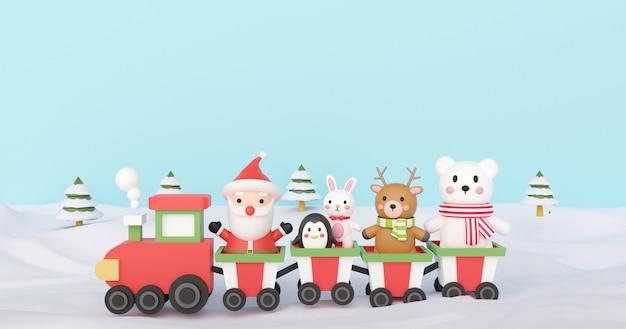 Feliz navidad y feliz año nuevo, fondo de navidad con linda papá noel y amigo de pie en un tren. .