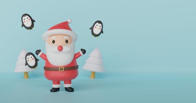 Feliz navidad y feliz año nuevo, fondo de navidad con linda papá noel y amigos 3 d rendering.