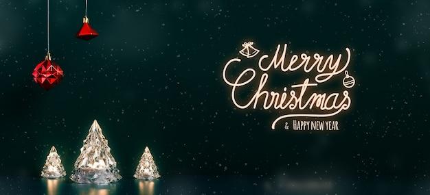 Feliz navidad y feliz año nuevo texto brillando en luces de lámpara de árbol de navidad con adornos rojos colgando sobre fondo verde azul oscuro con nieve cayendo tarjeta de felicitación de vacaciones de invierno.