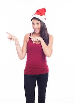 Feliz navidad mujer señalando