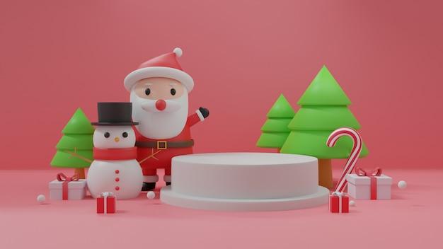 Feliz navidad con podio, celebraciones navideñas con santa claus y muñeco de nieve.