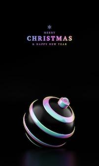 Feliz navidad y próspero año nuevo bola holográfica sobre fondo negro vertical. representación 3d de bola de navidad blanca brillante en luz de neón holográfica aislado