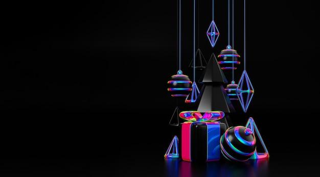 Feliz navidad y próspero año nuevo concepto de representación 3d de elemento holográfico. elegante diseño de moda iridiscente y holográfico navideño abeto de pino de navidad para tarjetas de felicitación, pancartas o carteles