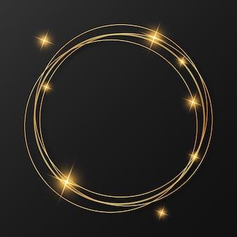 Feliz navidad y próspero año nuevo marco dorado