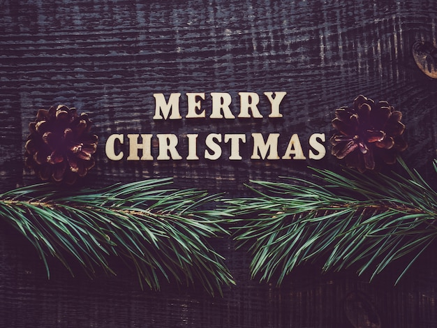 Feliz navidad con ramas de árboles y conos