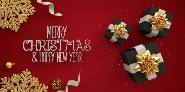 Feliz navidad tarjeta de ilustración plana laicos con cintas de cajas de regalo negras en rojo