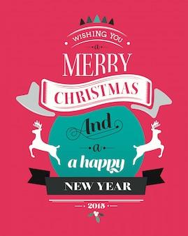 Feliz navidad vector con texto e iconos