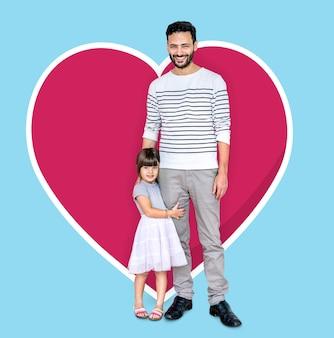 Feliz padre e hija la vinculación