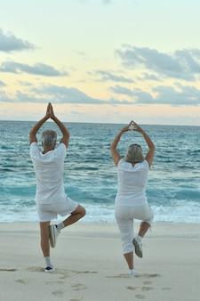 Feliz pareja senior haciendo ejercicio de yoga en verano en la orilla del mar vista posterior