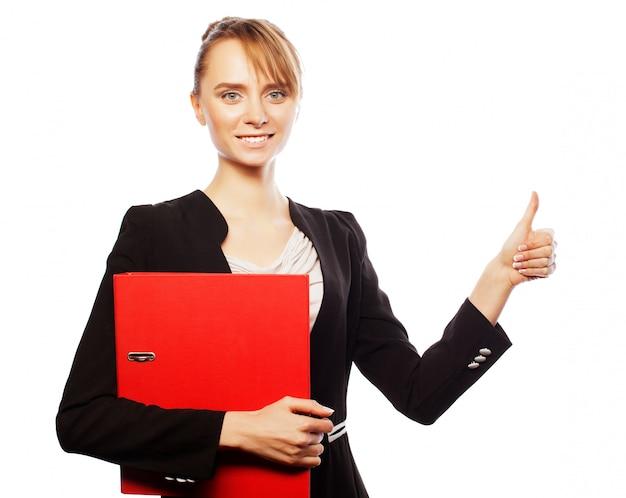 Feliz sonriente mujer de negocios