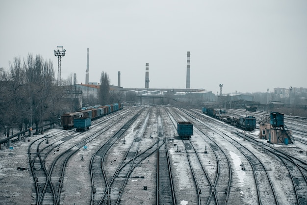 Ferrocarril con trenes