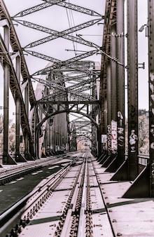 Ferrocarriles de tiro largo en un puente