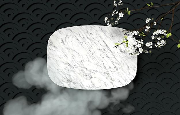 Festival chino de mediados de otoño con placa de mármol vacía.