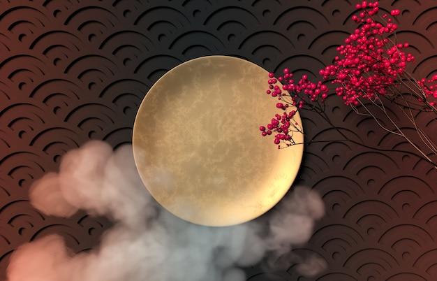 Festival chino de mediados de otoño con placa de oro vacía.