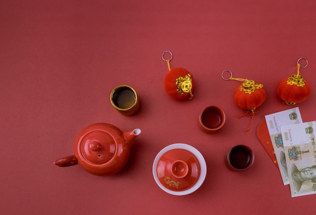 Festival de decoración de año nuevo chino decoraciones de accesorios en contenedores tradicionales mandarinas