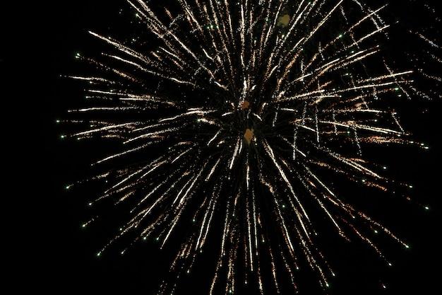 Festival de fuegos artificiales de colores en el cielo negro profundo en fuegos artificiales