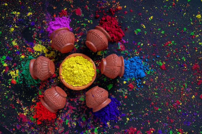 Festival indio holi, colores en tazón