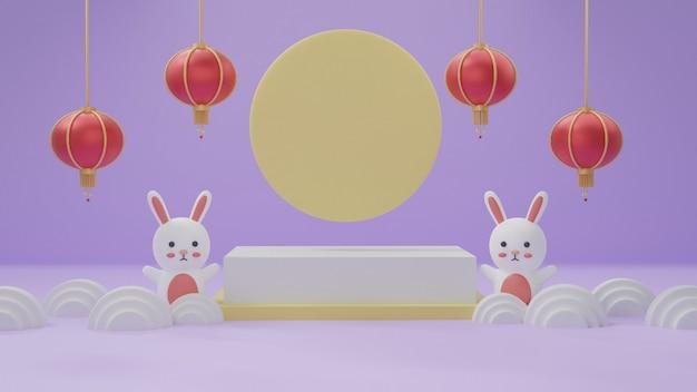 Festival de mediados de otoño podio con lindos conejos y la luna