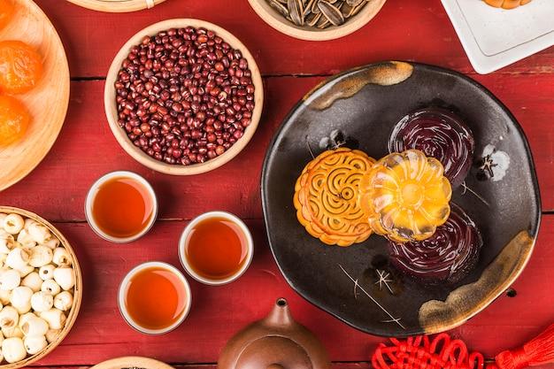 Festival del medio otoño pastelería tradicional china mooncake