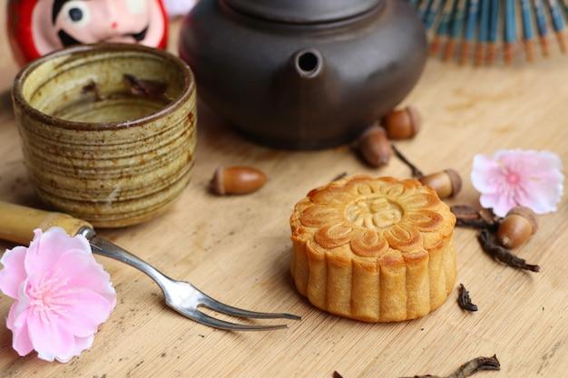 Festival de pastel de luna con té caliente