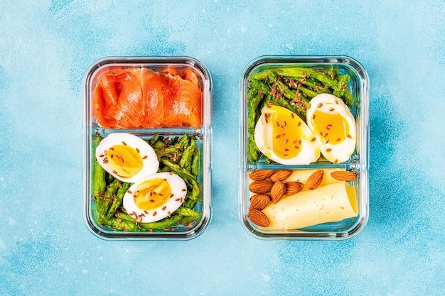 Fiambrera sana y equilibrada, almuerzo de dieta cetogénica, comida casera para el concepto de oficina.