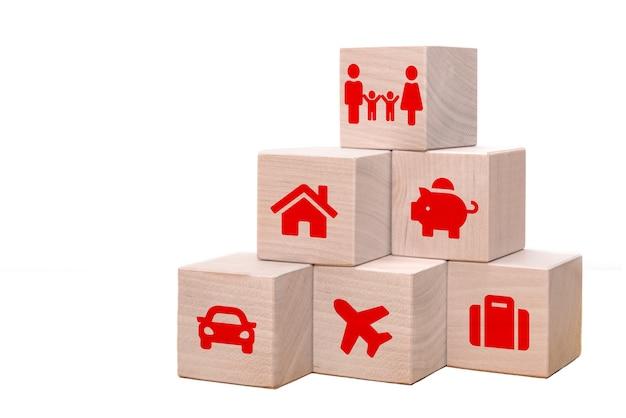Fianza y seguros de automóvil, inmuebles y propiedad, viajes, finanzas, salud, familia y vida. concepto de seguro.