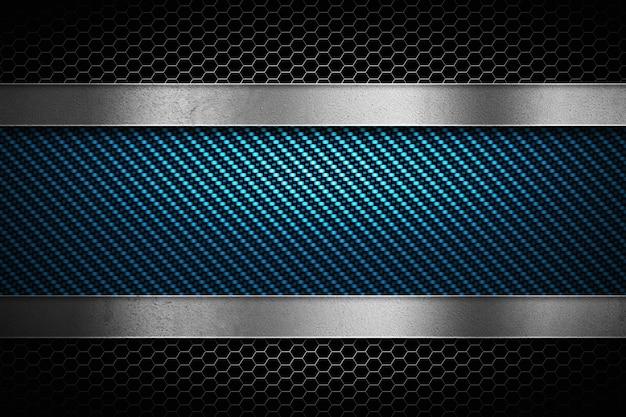 Fibra de carbono azul abstracta con metal perforado gris y placa de metal pulida