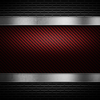 Fibra de carbono roja abstracta con metal perforado gris y placa de metal pulida