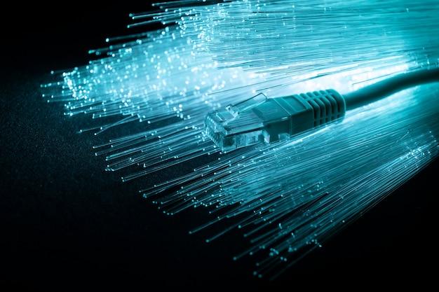 Fibra óptica azul con cable ethernet