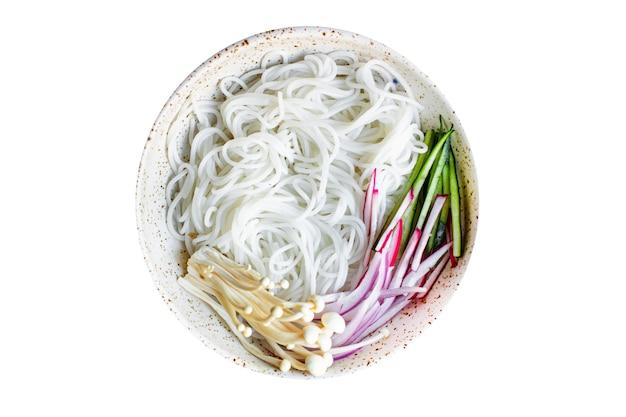 Fideos de arroz hongos enoki pasta celofán vegetal sopa de miso ramen funchose pho mariscos