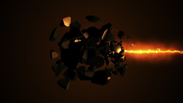 Fiery laser destruyendo la ilustración 3d de la esfera